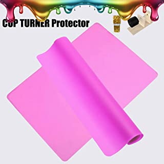 2 Pieces Magic Tumbler Turner Sheets For Crafts Tumbler, USLINSKY Flexible & Easy Cleanup Cup Turner Protector Mats Apply to Making DIY Glitter Tumbler Cups (Pink)
