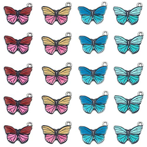20Pcs Butterfly Charms Pendant Enamel Charm Necklace Bracelet Charms for DIY Jewelry Accessories