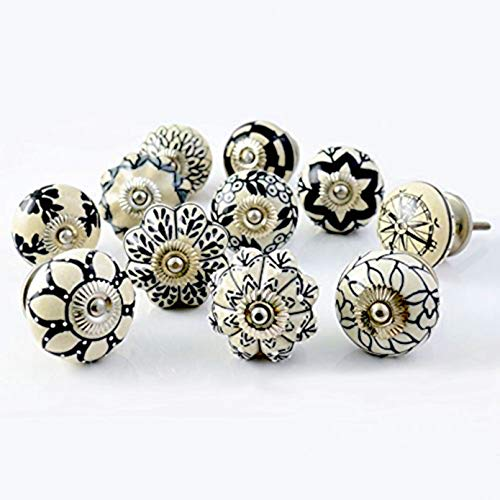 Artncraft Set of 10 Vintage Color Multi Designed Ceramic Cupboard Cabinet Door Knobs Drawer Pulls & Chrome Hardware 1 (Black & White)