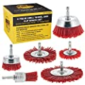 """Dura-Gold 6 Piece Abrasive Filament Nylon Wire Bristle Drill Wheel and Cup Brush Set - Coarse Sanding Scuffing, 1/4"""" Drill Shank - Remove Rust, Corrosion, Paint - Surface Prep Truck Bed Liner Coating"""