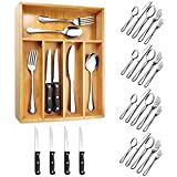 Teivio 24-Piece Silverware Set, Flatware Set Mirror Polished, Dishwasher Safe Service for 4, Include Knife/Fork/Spoon with Bamboo Silverware Drawer Organizer