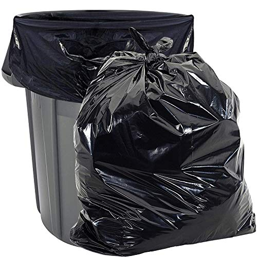 """55 Gallon Trash Bags Heavy Duty - (Huge 100 Pack) - 2.0 MIL Thick - 38"""" x 58"""" - Garbage Bags for Toter, Contractors, Lawn, Leaf, Yard Waste, Commercial, Kitchen, Industrial, Construction, Garage, Blk"""