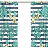 Orediy Vorhang aus Voile, 2 Paneele, tropische Blätter, Ananas, 40 % Verdunkelungsstange, lange Gardine, Fensterbehandlung, Schlafzimmer, Wohnzimmer, 2* 140W x 200 H