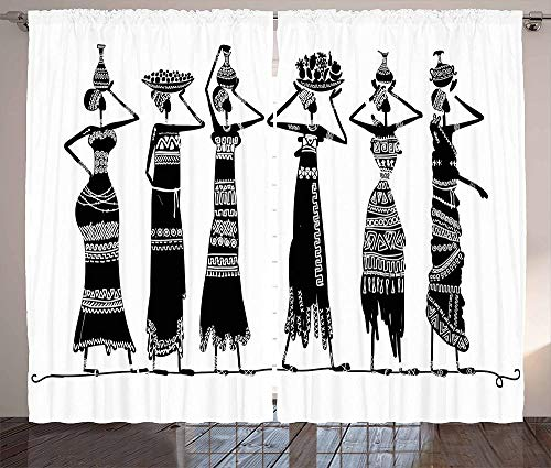 chinawh 3D Vorhang Schwarz Und Weiß Mädchen Afrika Stamm 140X100Cm Polyester Blickdicht Gardine Thermische Schalldämmung Modern Einfach Geeignet Für Schlafzimmer Wohnzimmer 2 Stück