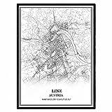 Linz Österreich Karte Wandkunst Leinwand drucken Poster