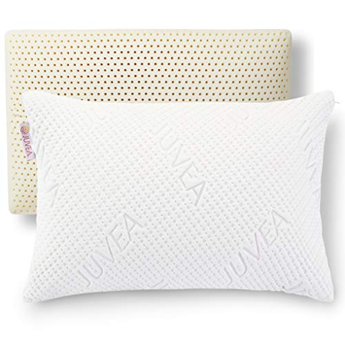 JUVEA Pillow Talalay Latex Pillow - High Loft Latex Foam Pillow with Machine Washable Cotton Cover Medium Firm Natural Latex Pillow Firm Pillows for...