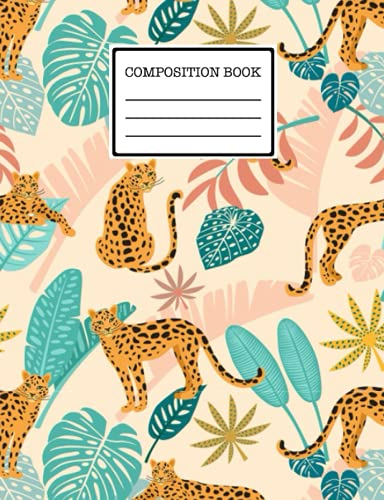 Composition Book: Leopard notebook, Nifty Wide Ruled Paper Notebook Journal...
