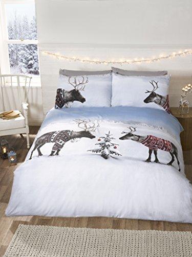 Parure di biancheria da letto natalizia con Copripiumino Matrimoniale e federa, multicolore, motivo: renne, Multi-colour, King