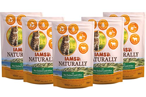 Iams Naturally kattenvoer, droog voer voor katten met natuurlijke ingrediënten, verschillende Maten, 5 x 700 g