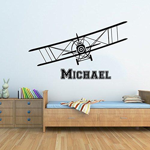 Sticker Autocollant Mural en vinyle – Nom personnalisée Nom personnalisé Avion biplan avion Stickers muraux Avion pour enfants Chambre Nom Garçons de décoration de chambre