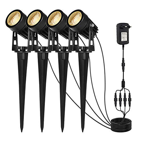 Sanfant Gartenbeleuchtung,Gartenleuchte 4 in 1 ,Gartenstrahler mit Erdspieß IP65 Wasserdicht,Gartenlampen mit Strom 3W COB LED für Außen Garten Rasen