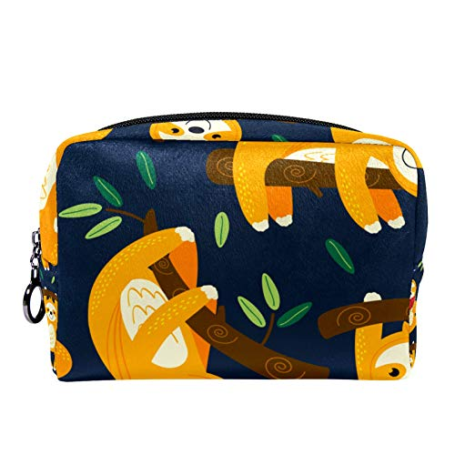 Cosmetic Bag Womens Makeup Bag for Travel to Carry Cosmetics,Change,Keys etc Funny Yellow Sloths