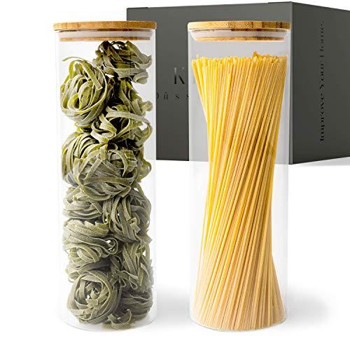 KIVY® Vorratsdosen Glas Set [2 x 1800ml] – Nudel & Spaghetti Aufbewahrung als Glasbehälter mit Deckel – Vorratsgläser mit Deckel für die Müsli Aufbewahrung – Aufbewahrungsgläser Küche