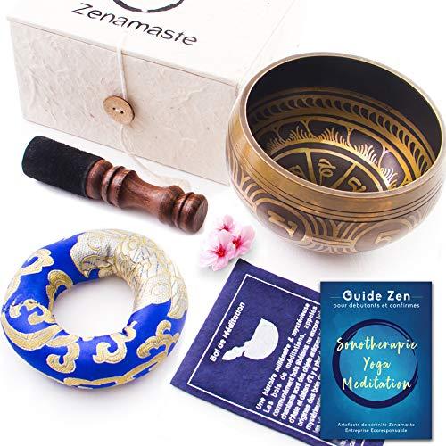 Tibetische Zenamaste® Meditation-Schale - Handgefertigt aus der Stadt Bhaktapur in Nepal   350g - 8,9 cm   + Nepalesische Papierbox mit Kissen   +Klangschale-Set mit Holz-Klöppel