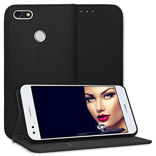 mtb more energy® Schutz-Tasche Bookstyle für Huawei P9 Lite Mini / Y6 Pro 2017 (5.0'') - schwarz - Kunstleder - Klapp-Cover Hülle Case