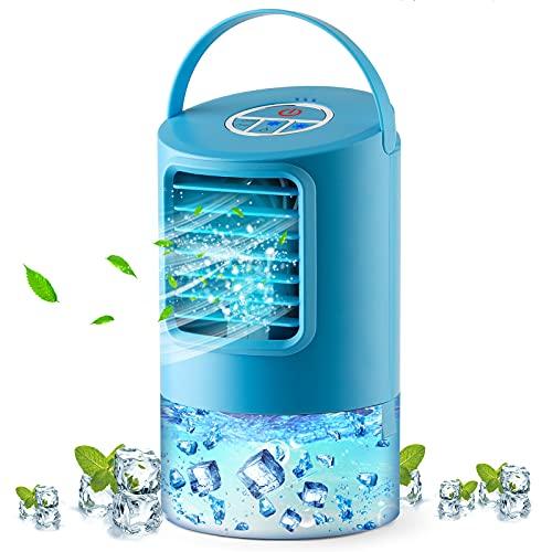 Tragbarer Luftkühler Persönliche Mobile Klimageräte 4 in1Mini-Desktop-Klimaanlage Luftbefeuchter Wasserkühlung Ventilator 3 Geschwindigkeiten 2/4H Timer 7 Farben Stimmungslichtern für Zuhause und Büro