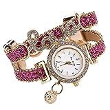 Yivise Moda Mujer Reloj de Pulsera Hermosa Pulsera Diamante Cuarzo Elegante Amor Joyería Tejido Dial Redondo Mini Relojes(B)
