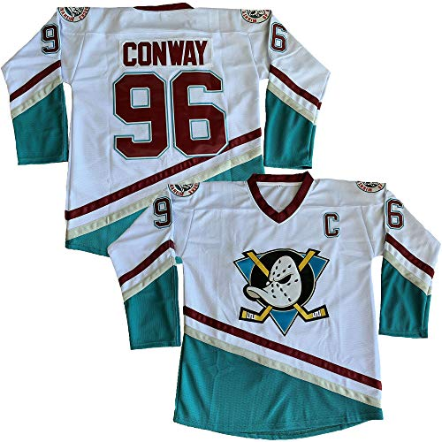 Charlie Conway #96 Mighty Ducks Movie Hockey Jersey White Green (White, Large)