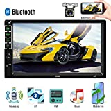 Camecho Double Din Car Stereo with Bluetooth 7'' HD Car Multimedia MP5 Player Touch Screen Digital Display for iOS/Android Phones Mirror Link Build-in Auto Radio FM/AUX/USB/SD Function+Backup Camera