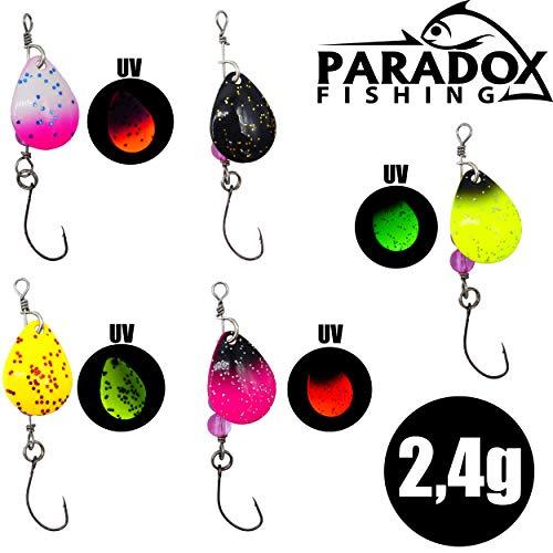Paradox Fishing Forellen Spinner Set 5 Spinner 2,4g mit Box UV Forellenköder Set Forellen Angeln Forellen Köder Forellen Set Spoon Forelle Forellen Spoon - Spoons Forelle