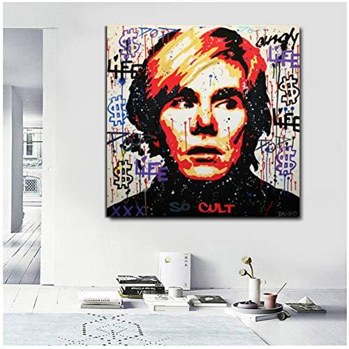 nr Modern zelfportretschilderij met dollar-geld-schilderij-muurschilderij voor woonkamer hoofddecoratie-50x50cm geen lijst