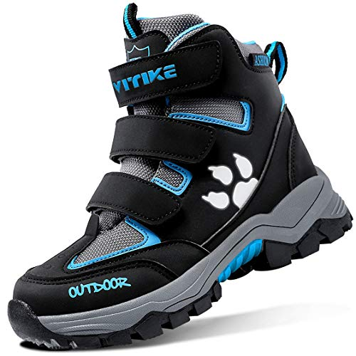 Boys Snow Boots Winter Warm Fur Lined Water Resistant Outdoor Girls Slip Resistant Cold Weather Outdoor Steel Buckle Anti-Slip Hiking Shoes Black Blue Little Kid Size 1
