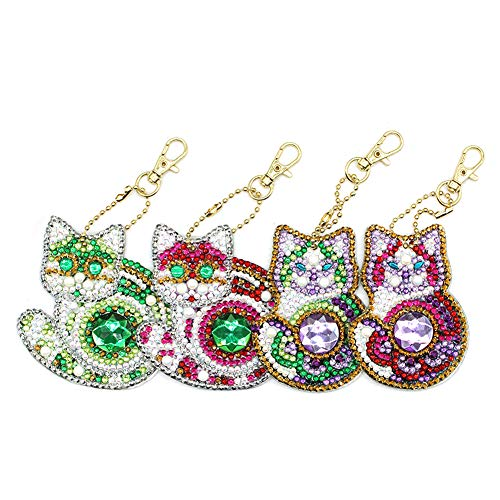 Hoseten Compact Delicate Firm Exquisite Beautiful DIY Diamond Keyring,Keychain, DIY Diamond Keychain, for Friends Yourself Children Decor(Four Sets (DIY Point Drill))