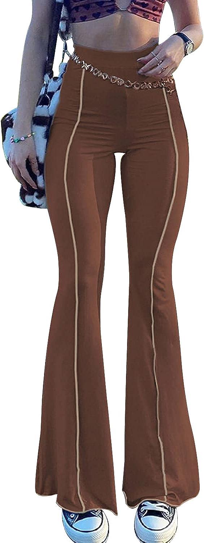 TWFRHC Women's High Waist Flared Bell Bottom Pants Y2K Elastic Skinny Casual Wide Leg Trousers