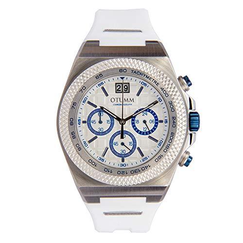 Otumm Big Date - Reloj cronógrafo unisex con correa de color blanco, 45 mm