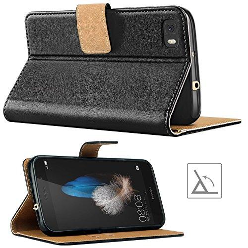 HOOMIL Handyhülle für Huawei P8 Lite Hülle, Premium PU Leder Flip Schutzhülle für Huawei P8 Lite Tasche, Schwarz - 4