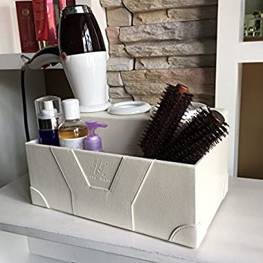 Love Nest Hair Dryer Holder Bathroom Organizer White Personal Snake PU Leather Ceramic Countertop Hair Styling Storage Chest Station by Love Nest (White)
