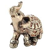 Hongzer Estatua del Elefante, Lucky Feng Shui Estatua del Elefante Dorado Escultura Riqueza Estatuilla Regalo Decoración para el hogar(L)