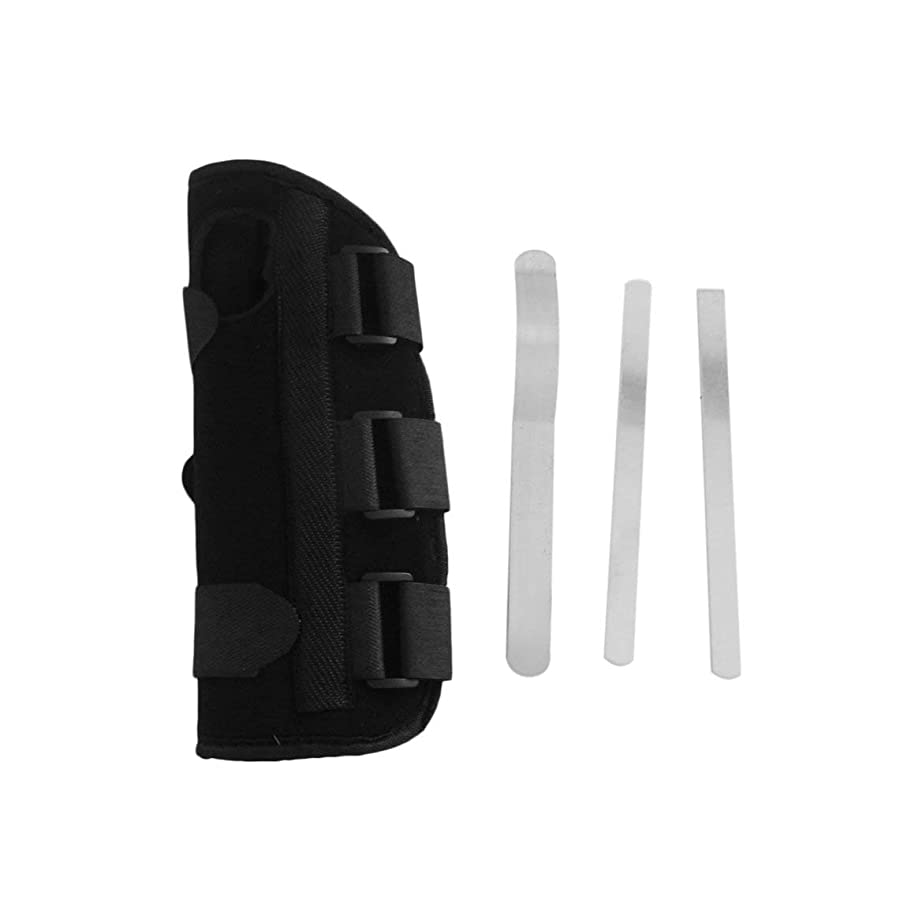 つかいます追加キリスト教手首副木ブレース保護サポートストラップカルペルトンネルCTS RSI痛み軽減取り外し可能な副木快適な軽量ストラップ - ブラックS
