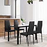JOYBASE 5 Piece Dining Table Set, Tempered Glass Top Table with 4 Leather Chairs, Kitchen Dining Furniture, Black