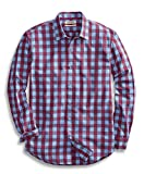 Amazon Brand - Goodthreads Mens Standard-Fit Long-Sleeve Gingham Plaid Poplin Shirt, Blue/Burgundy,...