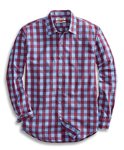 Goodthreads Regular-Fit Long-Sleeve Large-Scale Check Shirt Camicia, Rosso (Burgundy), Medium