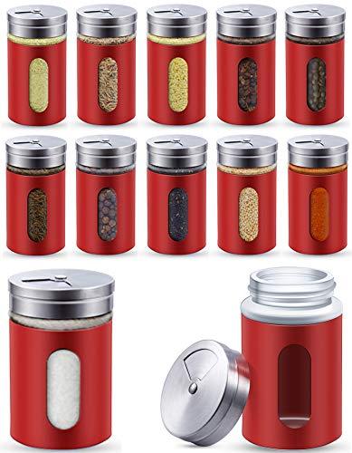 12 Gewürzstreuer Rot aus Edelstahl - Set 80 ml - Mit Sichtfenster und 3-fach Streuregulierung
