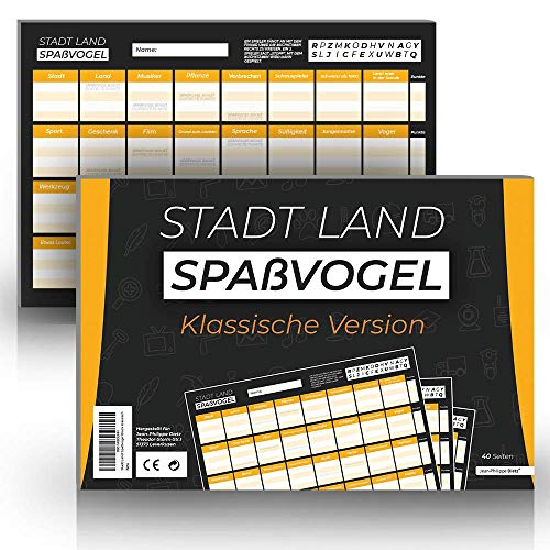 Stadt Land Spaßvogel Block - Neues Stadt Land Fluss Spiel - Klassische Version - 40 Seiten für extrem viel Spaß
