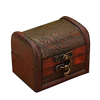 tallahassee Antique Wooden Embossed Flower Pattern Jewelry Box Storage Organizer Gift Decorative Boxes  Style 1