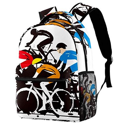 Mochila Escolar Carrera de Bicicletas Bolsa para la Escuela Unisex Mochila de Viaje Casual para Niños y Niñas 29.4x20x40cm