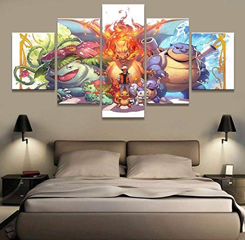 37Tdfc 5 Piezas Lienzo para Pintar Películas pósters Pokémon Cuadro en Lienzo 150 x 80 cm Impresión de Lienzo de Pared Cuadros Murales Decoracion Pared Salon Dormitorios Decoracion Modernos
