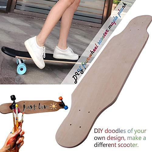 windyday Blank Skateboard Deck 9 -Layer DIY Graffiti langes Concave Skateboards Cruiser Holz Deck Holz Skateboard Kinder Tragfähigkeit: 100 kg 80 x 20x1cm