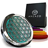 Anzazo Car Essential Oil Diffuser - 1.5' Magnetic Locket Set with Air Vent Clip - Best for Aromatherapy - Fragrance Air Freshener, Scents Diffusers - Sacred Geometry Jewelry for Car, Flower of Life