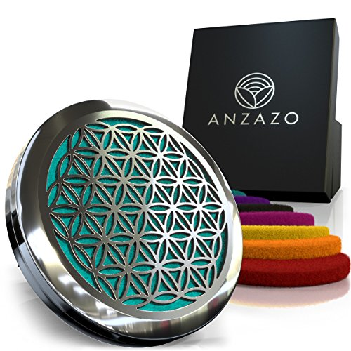 Anzazo Car Essential Oil Diffuser - 1.5' Magnetic Locket Set with Air Vent Clip - Best for...