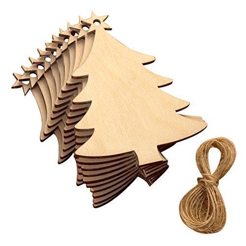 OULII Albero di Natale Ornamenti di gancio di legno Porta di segno di porta appendente per la decorazione del partito di Natale 10 pezzi