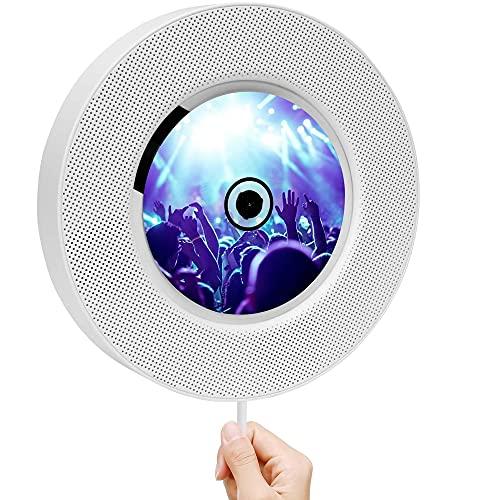 Reproductor de CD DVD portátil con Bluetooth para Montar en la Pared, Reproductor de DVD Compacto para el hogar para Reproductor de TV Altavoz de Alta fidelidad Incorporado, Compatible con Radio FM