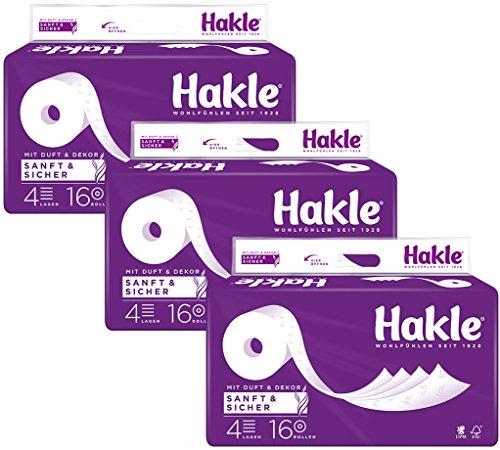 Hakle Toilettenpapier Sanft & Sicher, 4-lagig, 1 x Vorratspack mit 48 Rollen (3 x 16 Rollen)