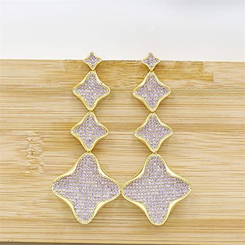 ACEACE Pendientes Colgantes de Oro, aretes de joyería de Borla de Oro Rosa, Fiesta de Bodas for Damas Elegantes y Hermosos Accesorios (Metal Color : 7)