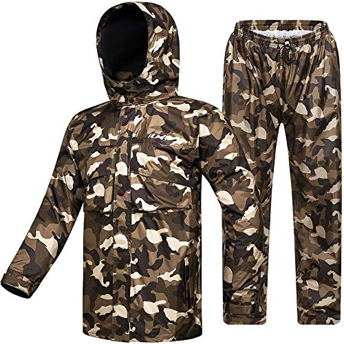 ILM Motorcycle Rain Suit Waterproof Wear Resistant 6 Pockets 2 Piece Set with Jacket and Pants Fits Men Women (Men's Small, Camouflage)
