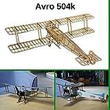 Avro 504 k Slow Flyer Kits de Modélisme, Maquette d'avion avec Bois de Balsa, Échelle 1/20, 505 mm d'envergure des Ailes, Kit modèle RC, 385 x 505 x 152 mm, découpé au Laser, Poids en vol 48 GR